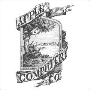 The original, short-lived Apple logo.