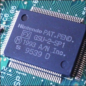 An FX GSU-2-SP1 co-processor within an SNES game cartridge.