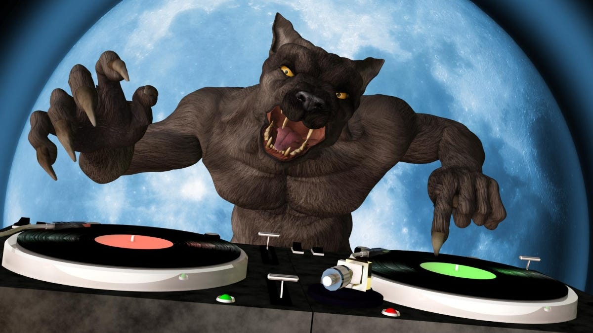 A Lycan werewolf is in the House and mixing up some Halloween horror. Turntables with vinyl albums