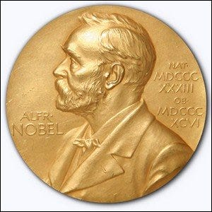 A 1950 Nobel Prize medal awarded to researchers at the Mayo Clinic in Rochester, Minnesota.