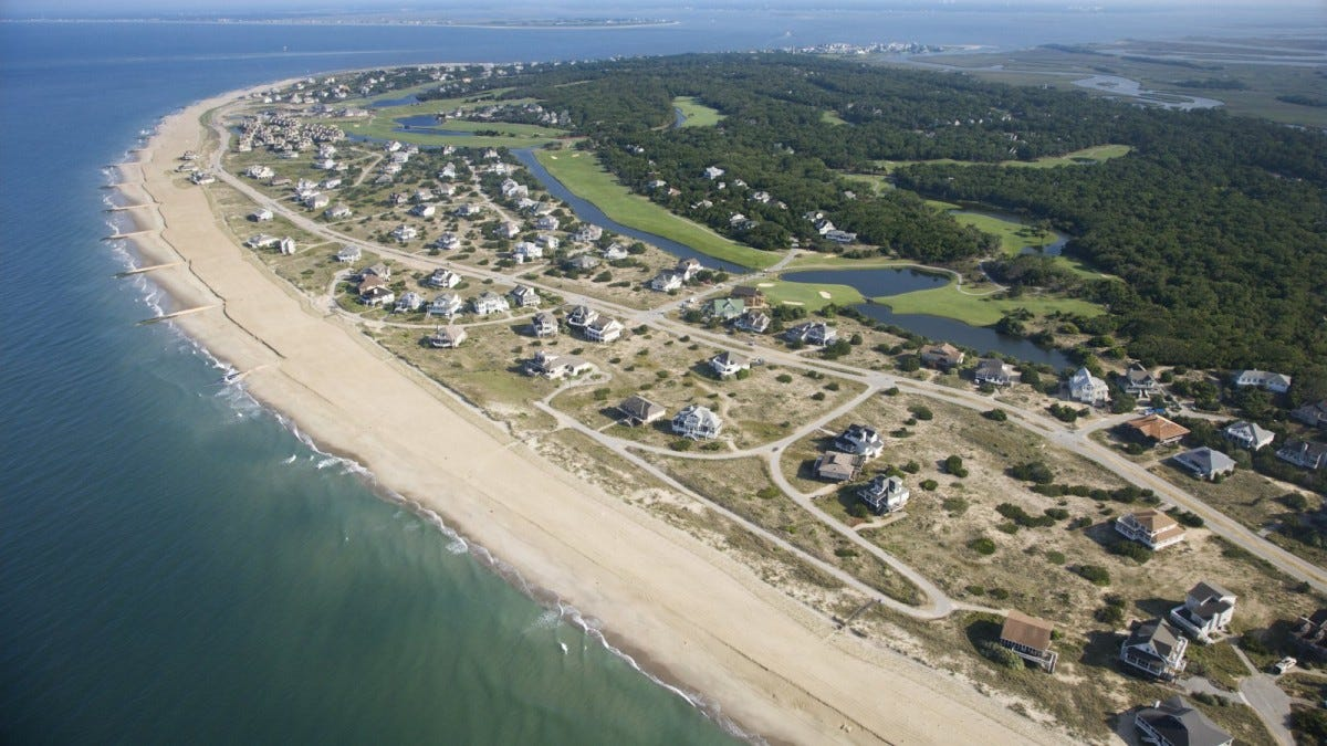 Aerial view of beach and residential neighborhood at Bald Head Island, North Carolina
