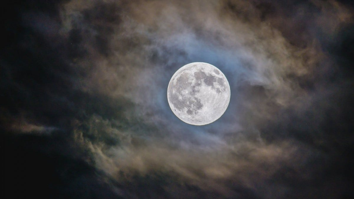 Bright full moon with cloudy background at night