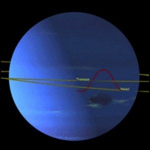 A computer rendering showing the orbital patterns of Neptune's two inner moons.