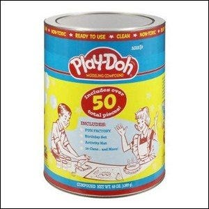 A retro-styled can of Play-Doh.