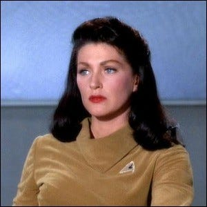 """Majel Barrett as Number One in the Star Trek pilot episode """"The Cage""""."""