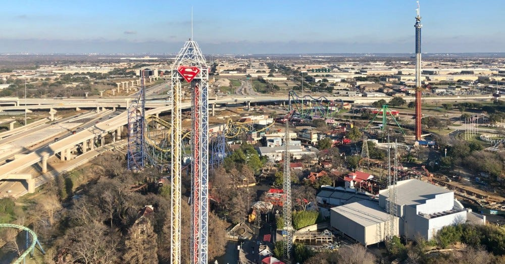Six Flags Over Texas in Arlington with the Dallas skyline in the background