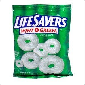A bag of Life Savers Wint-O-Green candy.