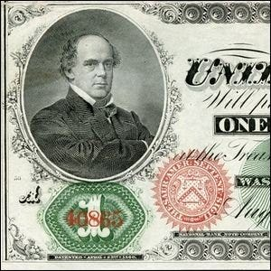 A close up view of the original $1 bill.