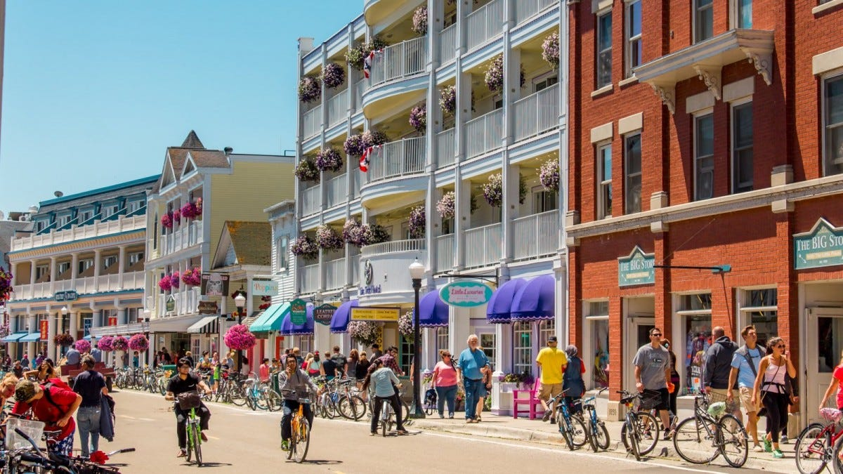 Bustling streets of downtown Mackinac Island during tourist season