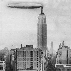 A faked 1930 photograph of the U.S. Navy dirigible Los Angeles docked at a mooring mast atop the Empire State Building.