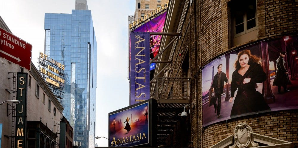 Broadway billboards showing banners for Anastasia
