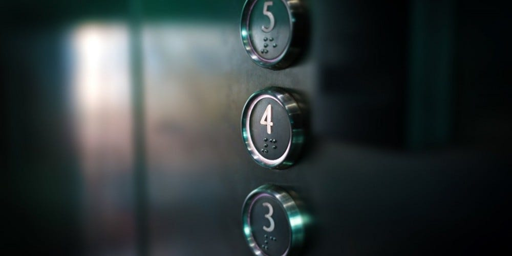 Macro close-up of push buttons in an elevator for levels 3,4 and 5