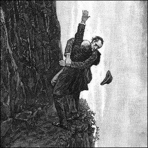 An illustration of the death scene at the Reichenbach Falls from Sherlock Holmes, The Final Problem.