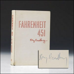 A signed copy of the asbestos cloth cover edition of Fahrenheit 451.
