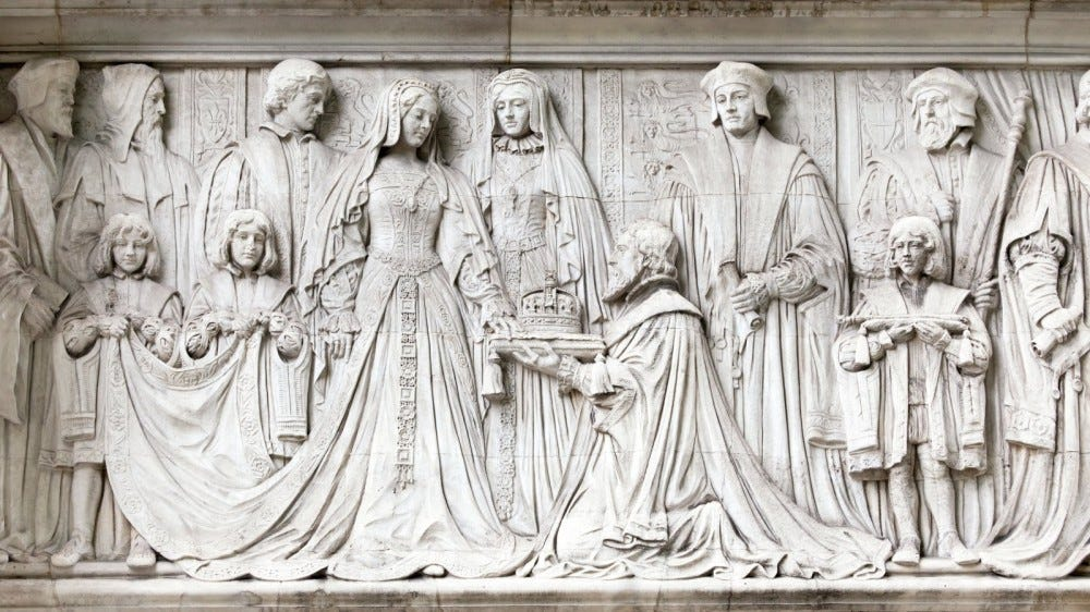 Frieze on Supreme Court in London showing Lady Jane Grey being offered the Crown of England