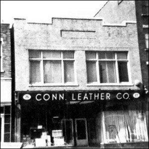 A storefront photo of the Connecticut Leather Company's first location.