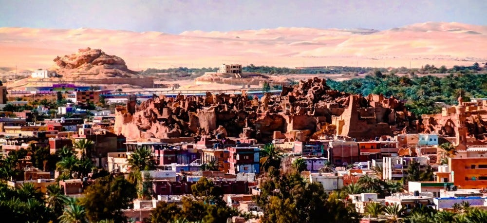 Panorama of old city Shali and mountain Dakrour at Siwa oasis, Egypt