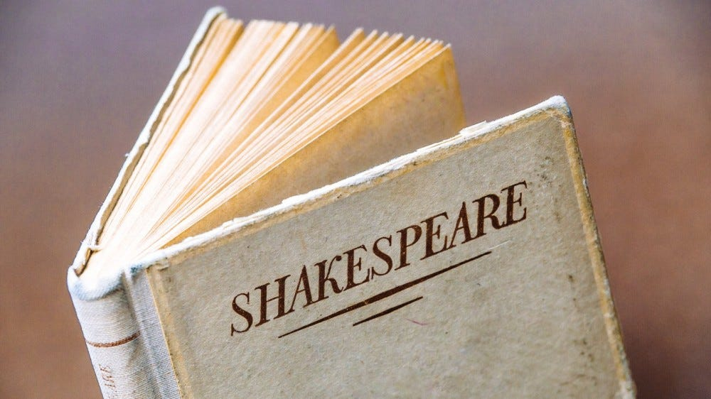 """vintage book with """"Shakespeare"""" on the cover"""
