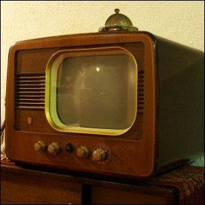 Photo of a vintage Philips television set.