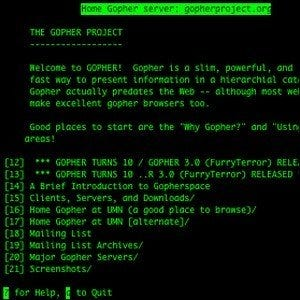 A Telnet screenshot of the text-based Gopher Project.