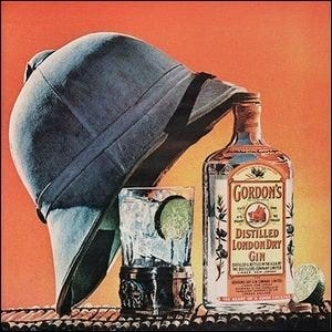 A vintage ad for Gordon's London Dry Gin with a pith helmet and a gin and tonic.