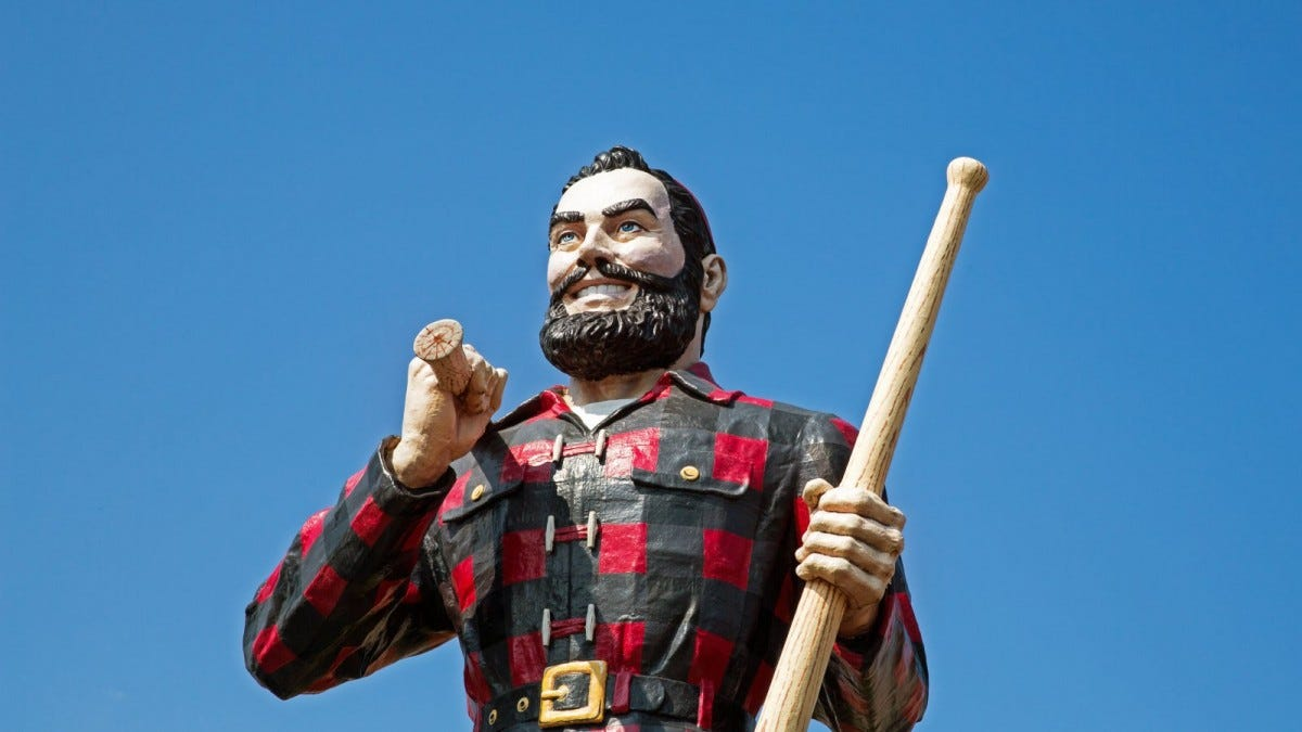 Statue of the legendary character Paul Bunyan