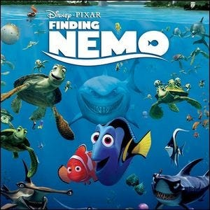 A movie poster for Finding Nemo with Marlin and Dory in the center.