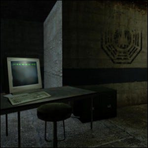 Screenshot of the computer room Easter egg in Half-Life 2.