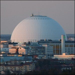 The Ericsson Globe, the center of the massive Swedish building-based model.