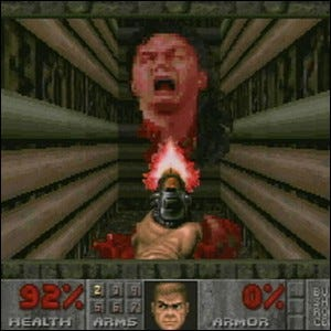John Romero's head, the final boss of Doom II.
