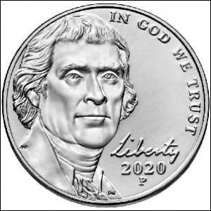 A detailed picture of the portrait side of a U.S. nickel.