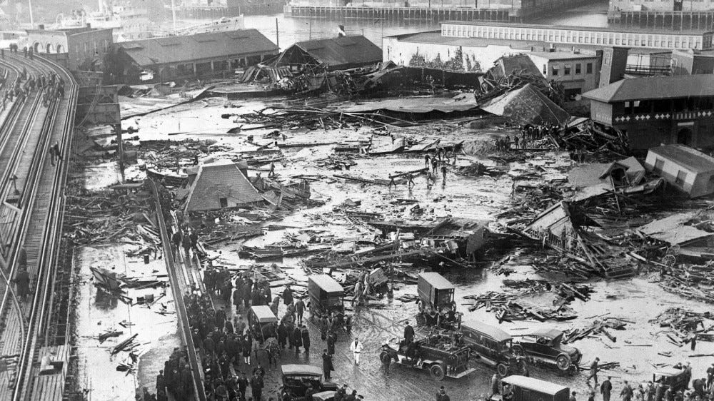 black and white photo of Molasses disaster site