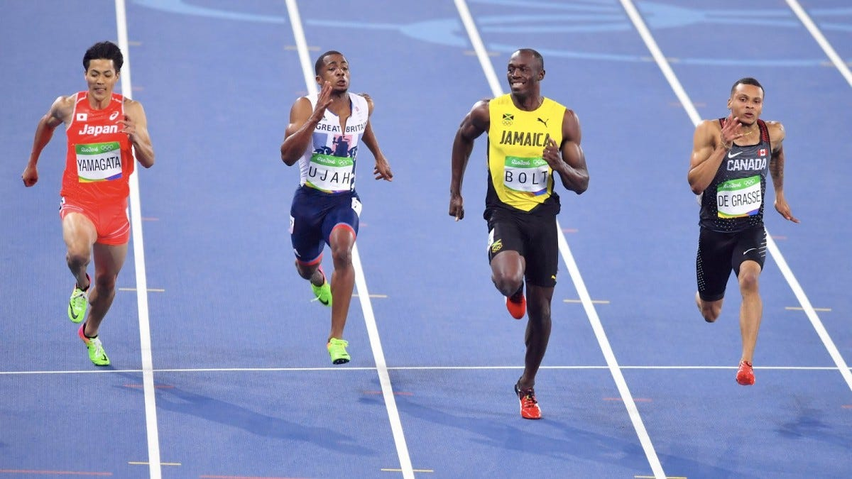 Jamaica's Usain Bolt, during a semifinal men's 100 meters at the Olympic Summer Games in Rio de Janeiro.