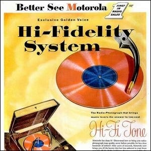 A colorful vintage Motorola advertisement for a hi-fi stereo system.