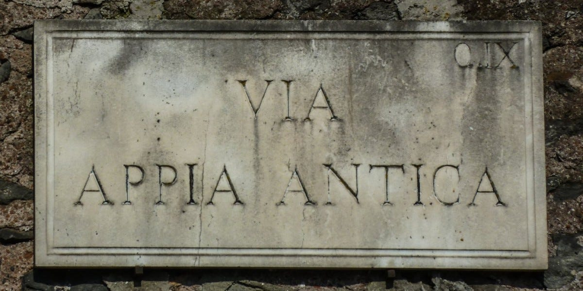 """Sign of """"Via Appia Antica"""", an ancient roman road in Rome, Italy"""