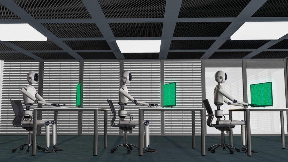 3D rendering of robots working at computers in office
