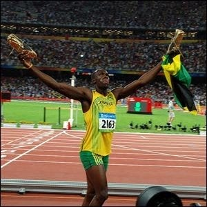Usain Bolt after his victory in the 100 meter during the 2008 Beijing Olympics.