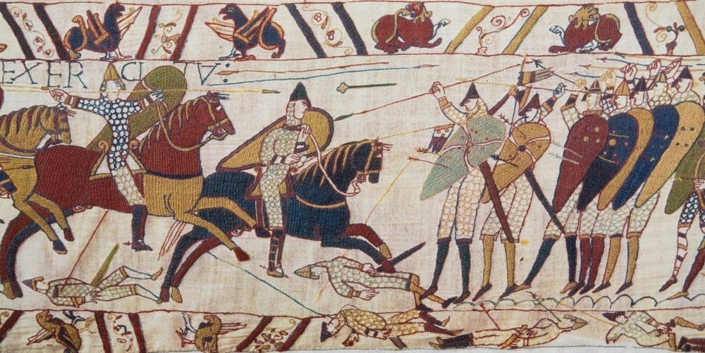 Detail of the Bayeux Tapestry depicting the Norman invasion of England in the 11th Century