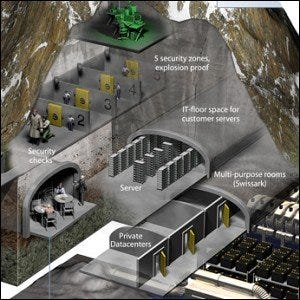 A cut-away view of Mount10's data center inside of a decommissioned Swiss army bunker.