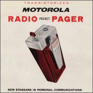 An early advertisement for the first radio pagers made by Motorola.