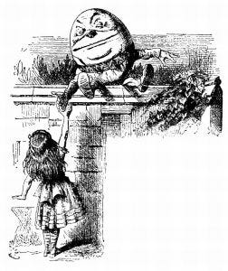 illustration of Humpty Dumpty and Alice