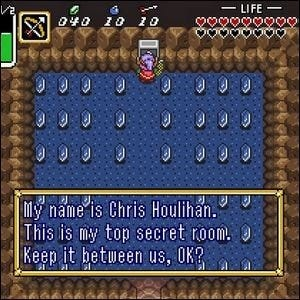 The secret room in The Legend of Zelda: A Link to the Past.