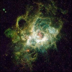 NGC 604, a vast nebula located in the neighboring spiral galaxy M33, in the constellation Triangulum.