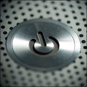 The multi-state power button from a 2007-era MacBook Pro.