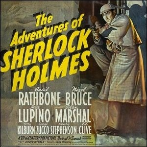 A movie poster for the 1939 film, The Adventures of Sherlock Holmes.