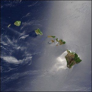 A true-color satellite view of Hawaii.