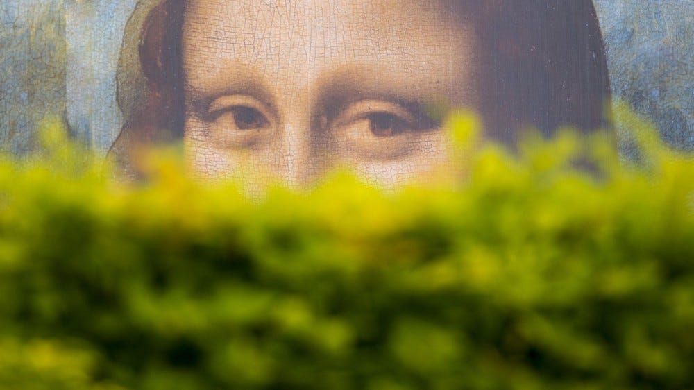 Mona Lisa peering from behind bushes