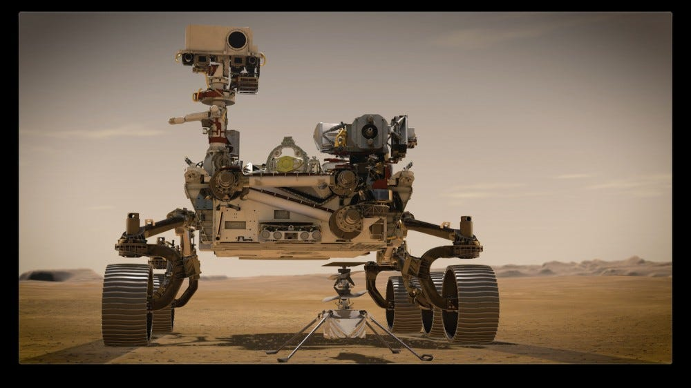 Artist's rendering of Perseverance rover and Ingenuity Mars Helicopter