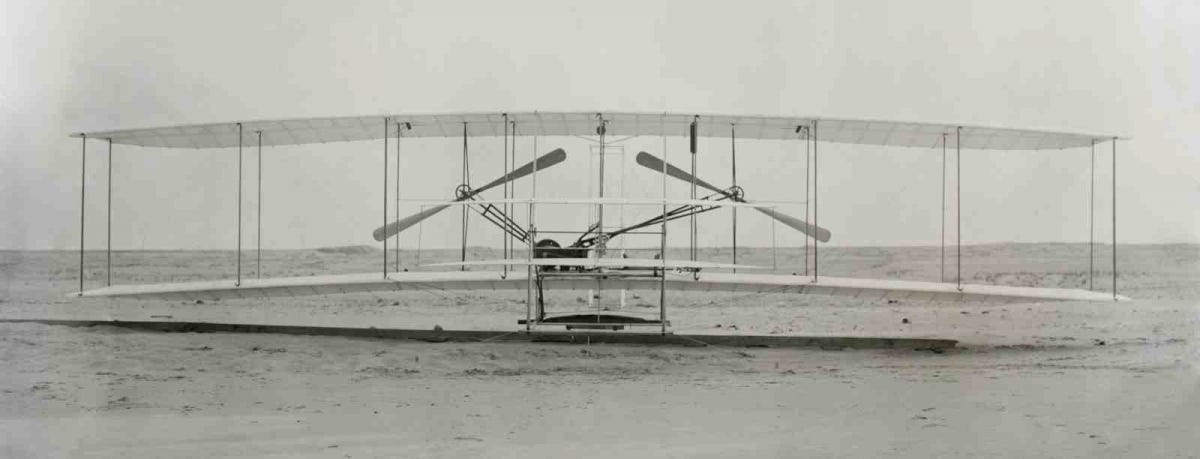 "The Wright Brothers flying ""machine"""