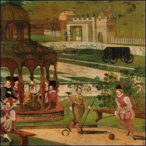 A traditional English gaming lawn depicted in an early 17th century painting.